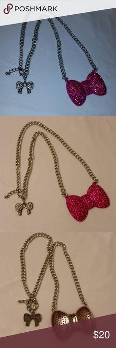 "Elessa Jade Bow Necklace Hi Poshers! I'm selling this cute Elessa Jade pink Bow necklace. Shines nicely and has a cute rhinestone bow near the clasp. Chain is 24"" Elessa Jade Jewelry"