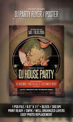 DJ Party Flyer / Poster Template PSD #design Download: http://graphicriver.net/item/dj-party-flyer-poster/12981045?ref=ksioks