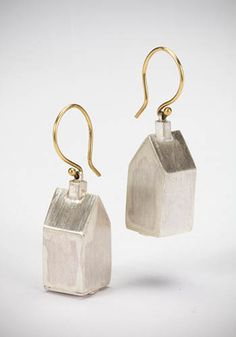 """Laurie Hall: Houses, Earrings in sterling silver with gold ear wires. 1 1/2"""" long."""