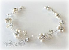 Flower Hair Vine by RWWeddingDesigns on Etsy