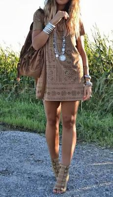 Taupe eyelet shift dress with bangles, bangles, bangles & gladiator heels~