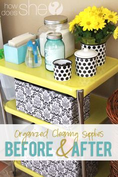 Organize and make your cleaning supplies cute and fun to use! Lots of good ideas + before and after photos! #organization #cleaning #diy from howdoesshe.com