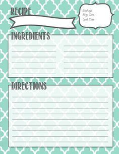 Recipe Binder Printables Book Templates Printable Cards Card