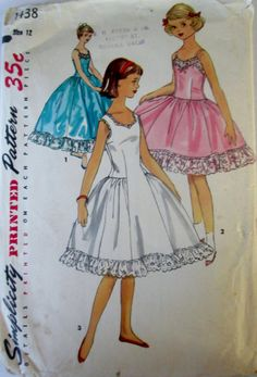 Simplicity 1438 Teen 50s Girls Full Slip in Two by Denisecraft, $7.99
