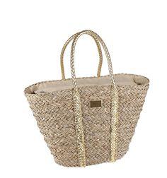 Capazo de mimbre combinado con asas color oro en efecto piel trenzada. Straw Bag, Crochet, Wings, Women's Handbags, Wicker, Suitcases, Gold, Purses, Fur
