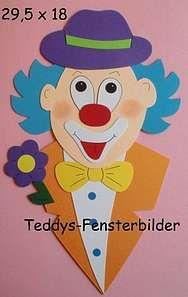 Bild: Fensterbilder 16 ´ Clown mit Fliege und Blume ` Tonkarton