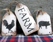 FREE SHIP Farm Rooster Pig Wood Tags Rustic Distressed Sign Set