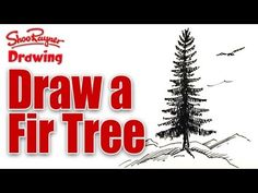 Learn to draw a Fir Tree - spoken tutorial You Draw, Learn To Draw, Realistic Drawings, Cool Drawings, Mental Health Art, Mountain Drawing, Glue Art, Tree Sketches, Winter Art Projects