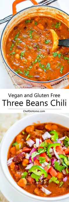 Easy Vegetarian Vegan Three Beans Chili with Chickpeas | chefdehome.com