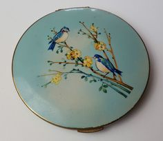 VINTAGE - STRATTON - COMPACT MIRROR - LARGE - ENAMELLED - BIRD PICTURE - RARE