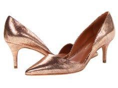Kalin d'Orsay pumps by Rebecca Minkoff in Rose Gold Metallic Lizard Print