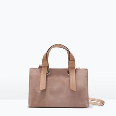 Image 1 of MIXED LEATHER MINI BOWLING BAG from Zara