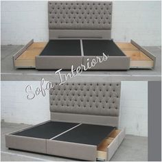 Tufted headboard with custom made bed frame with pullout drawers.  #custom #customers #upholstered #upholsteryfabric #pulloutdrawers #drawers #bedroom #furniture #furnituredesign #sofainteriors #tuftedheadboard #tuftedbed #youwantitigotit #youwantitwellmakeit #anysize #anystyle #grey #anycolor #glendale #valencia #studiocity