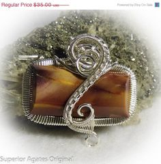 On Sale Red Yellow Mookaite Wire Wrapped Pendant by superioragates, $31.50