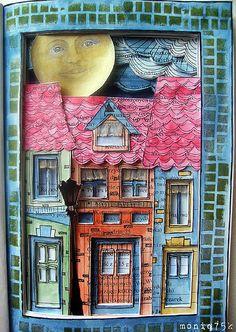 altered book houses / kamieniczki by moniq75k, via Flickr