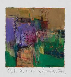 Oct. 6, 2015 - Original Abstract Oil Painting - 9x9 painting (9 x 9 cm - app. 4 x 4 inch) with 8 x 10 inch mat