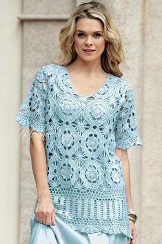 Кофточка и юбка одинаковыми узорами для пышекПродолжаю подборку моделей для дам,у которых размер одежды больше ХХL.Сегодня у нас очень красивая кофточка и юбка из каталога моды бразильской вязаной одежды.