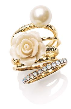 Ariella Collection Flower & Faux Pearl Stack Rings (Set of 5) (Nordstrom Exclusive)
