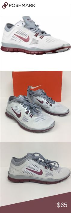 Nike Free 5.0 TR Fit 4 Team Sneaker 642069 105 Nike running shoes that combines value and quality. Mesh upper. Rubber sole. No sew overlays throughout. Traditional tongue construction cushions lace pressure. Color is white, sport red , wolf Gray, pure platinum. Brand-new in box Nike Shoes Sneakers