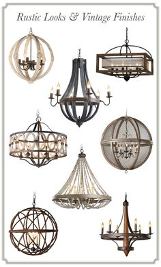 Chandeliers with Rustic Looks & Vintage Finishes