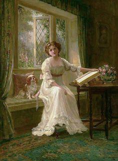 Kendrick, Sydney Percy (b,1874)- Woman Reading on Windowseat, w Spaniel -2b