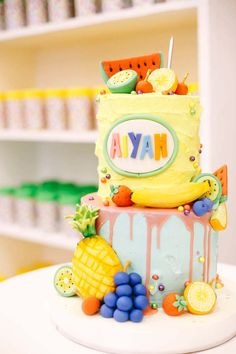 Tutti Frutti Cake from a TWOtti Frutti Birthday Party on Kara's Party Ideas | KarasPartyIdeas.com (14)