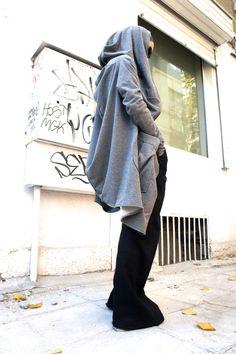 Asymmetric Light Grey Extravagant  Hoodded Coat / от Aakasha