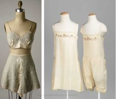 """1920s-Embroidered-silk-tap-pants-and-bra---Met-Museum. Lingerie fabrics in the 1920s were of silk, crepe-de-chine, rayon and a new soft transparent fabric """"crepe Georgette"""" devised by Chanel contemporary Georgette de la Plante."""