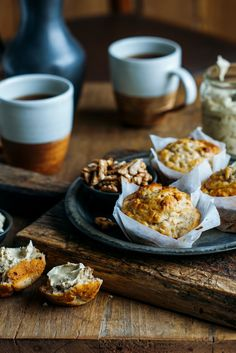 Banana Maple Oaty Walnut Muffins with Maple Butter