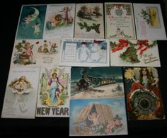 Lot of 13 Vintage New Years Postcards 1909 1924 Postmarks VG Condition | eBay
