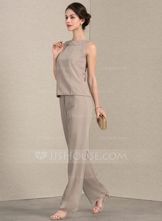 A-Line/Princess Scoop Neck Floor-Length Chiffon Mother of the Bride Two-piece outfit With Lace - JJ's House