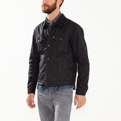 $128, Levi's The Waxed Canvas Trucker Jacket. Sold by Levi's. Click for more info: https://lookastic.com/men/shop_items/329966/redirect