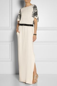 By Malene Birger Sharmila sequined washed-silk gown Spring 2014 Filipiniana Dress, Evening Attire, Silk Gown, Gowns With Sleeves, Gowns Of Elegance, Malene Birger, Playing Dress Up, Passion For Fashion, Fashion Outfits