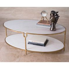 Global Views 9.91786 Iron and Stone Oval Coffee Table Gold Furniture Tables Coffee Tables