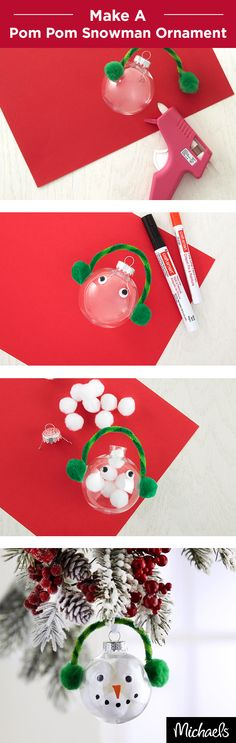 Craft a cute snowman ornament with your kids this holiday season! First, create earmuffs by gluing pom poms and a chenille stem to the outside of your shatterproof ornament. Then, fill the ornament with white pom poms. Finally, add wiggles eyes and paint on a nose and mouth. Get everything to make this cute ornament at your local Michaels store.