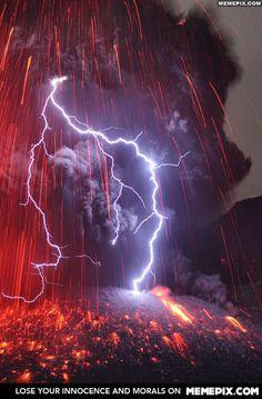Lightning Striking Sakurajima Volcano