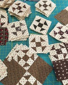 Brown and cream Shoofly quilt blocks by karens_stitchesnquilts Quilt Block Patterns, Pattern Blocks, Quilt Blocks, Scrappy Quilts, Mini Quilts, Quilting Projects, Quilting Designs, Churn Dash Quilt, Two Color Quilts