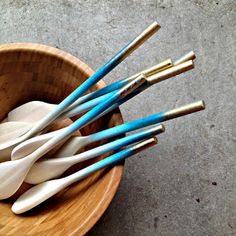 Blue & gold ombre wood spoons with The Frosted Petticoat