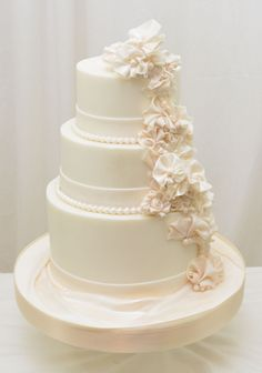 Cascading Ruffle Flowers - 6,8 and 10 inch cake finished in buttercream with fondant ruffle flowers
