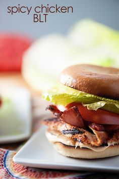 Spicy Chicken BLT Bagels: Add some spice to your favorite Thomas' Bagel with this recipe from Buns in my Oven. Grilled chicken and homemade spicy mayo finished with bacon, lettuce and tomato. Simple to make and delicious to eat! Chicken Blt, Spicy Grilled Chicken, Chicken Recipes, Recipe Chicken, Beef Recipes, Sammy, Wrap Sandwiches, Turkey Sandwiches, Food Dishes