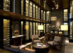 The Wine and Cigar Library in the Chedi Hotel, Andermatt, Switzerland Andermatt, Restaurant Design, Restaurant Bar, Chedi Hotel, Urban Deco, Home Wine Cellars, Wine Cellar Design, Wine Bar Design, Glass Wine Cellar