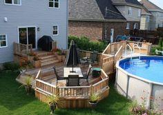 deck and pool Patio Plan, Pool Deck Plans, Deck Yard Ideas, Patio Deck Designs, Deck With Pergola, Backyard Pergola, Spa Plan, Above Ground Pool Landscaping, Stock Tank Pool
