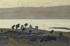 Cottages at Sunset : Sir Kyffin Williams