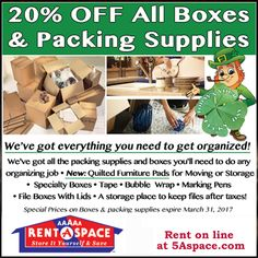 During the month of March, we are offering off all boxes and Packing Supplies. Mention this ad when you stop by your local to purchase all your moving/storing supplies. Self Storage Company, Business Storage, West Maui, Store Supply, Packing Supplies, Lid Storage, Storage Facility, Storage Places, Shop Local