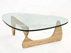 Glass top triangle coffee table for living room furniture