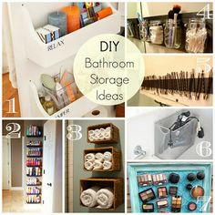 Great easy DIY ideas for bathroom storage and organization!