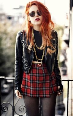 love the pairing of pieces: skirt, tights, jacket, midriff turtleneck