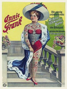 Annie Frank Tattooed Lady Circus Vintage Sideshow Poster Art Prints