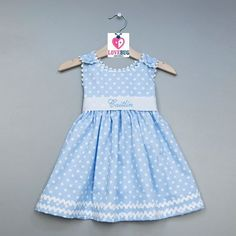 Love this Princess Linens Blue Polka Dot Initial Babydoll Dress - Infant, Toddler & Girls by Princess Linens on Toddler Dress, Toddler Outfits, Kids Outfits, Infant Toddler, Toddler Girls, Little Dresses, Little Girl Dresses, Baby Dresses, Pagent Dresses