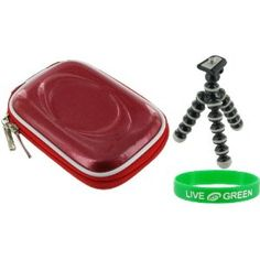 Hard Carrying Case (Candy Red) and Premium Tripod for Nikon Coolpix L20 Digital Camera Black. 1 Year Warranty.  Case Dimension: 4.98 x 3.3 x 1.88 Inch